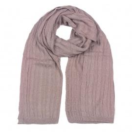 Zimowy damski szalik w warkoczyki - brudny różowy