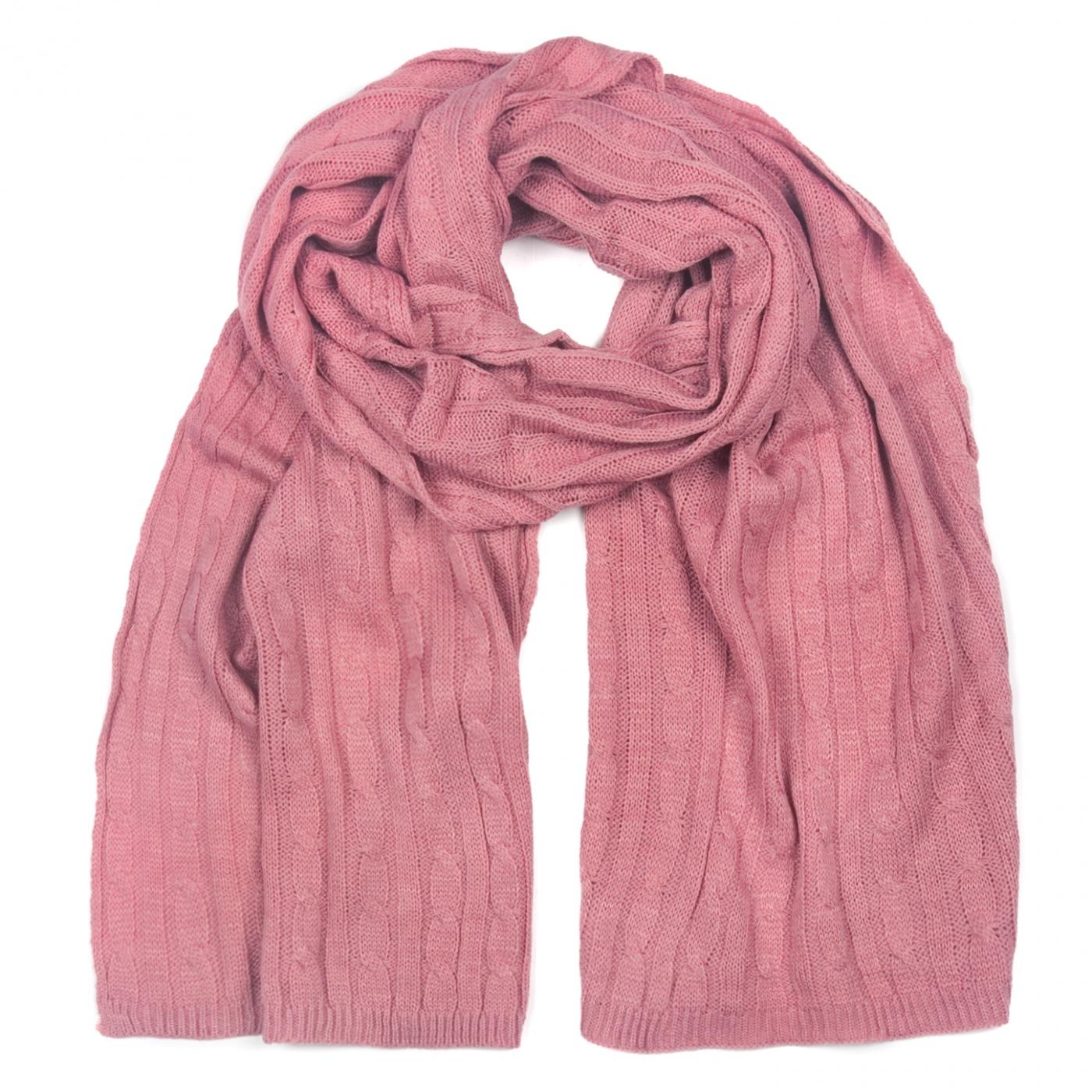 Zimowy damski szalik w warkoczyki - różowy