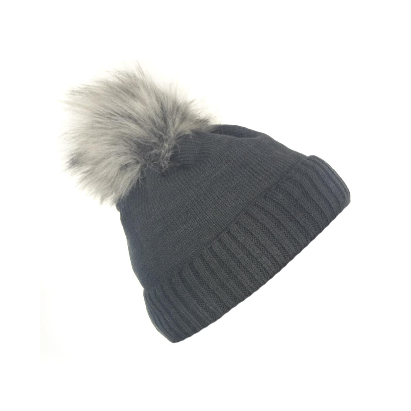Damska czapka zimowa z wywinięciem : gafitowa