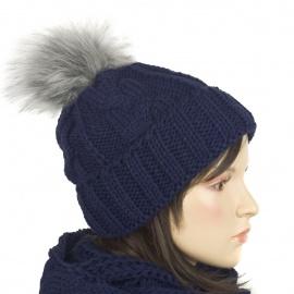 Damska czapka zimowa z pomponem granatowa