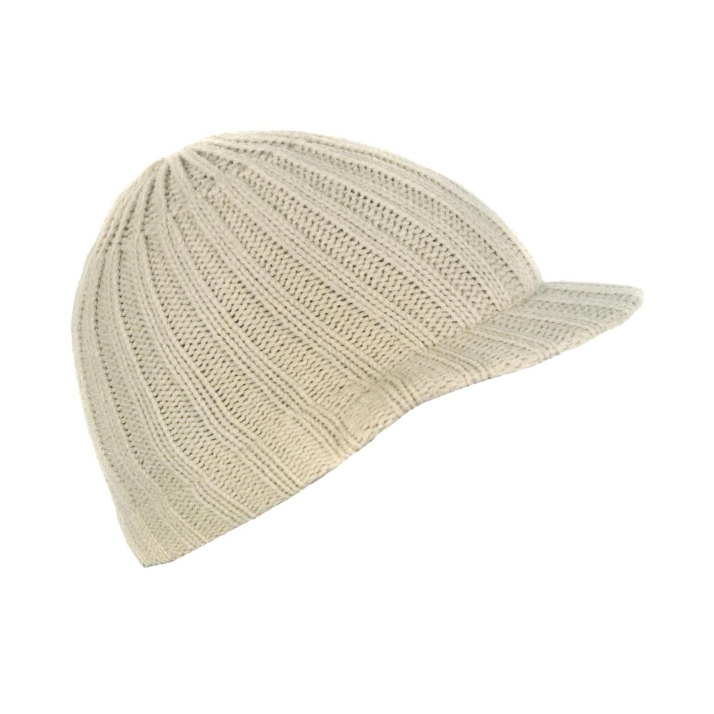 Męska czapka zimowa z daszkiem – beżowa w prążki