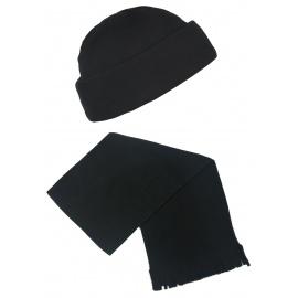 Męski komplet polarowy suprafleece czapka zimowa i szalik : czarny