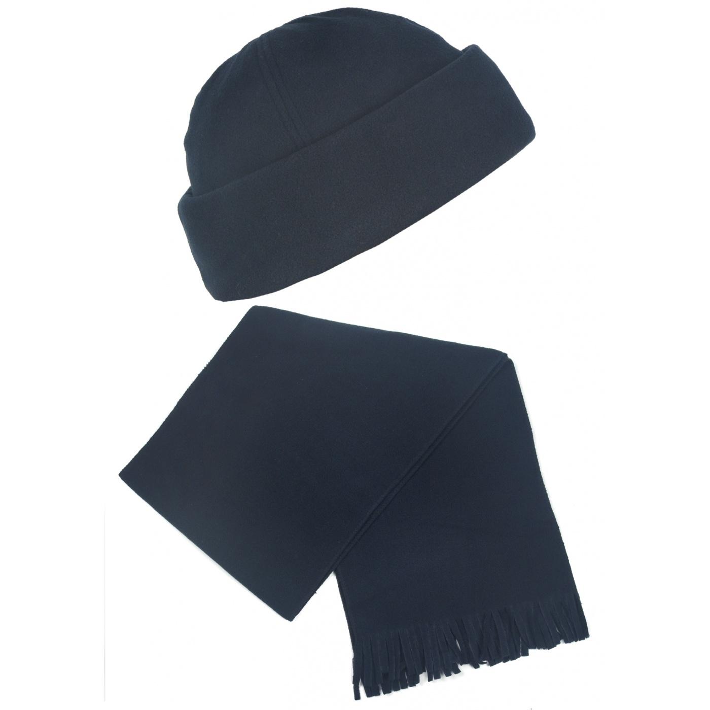Męski komplet polarowy suprafleece czapka zimowa i szalik : granatowy