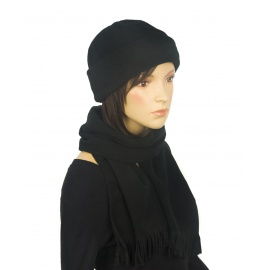 Damski komplet zimowy z polaru czapka i szalik - czarny