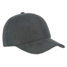 Męska zimowa zamszowa czapka z daszkiem - czarna
