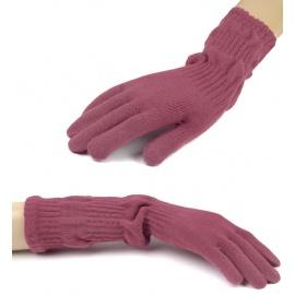Damskie długie rękawiczki - brudny różowy
