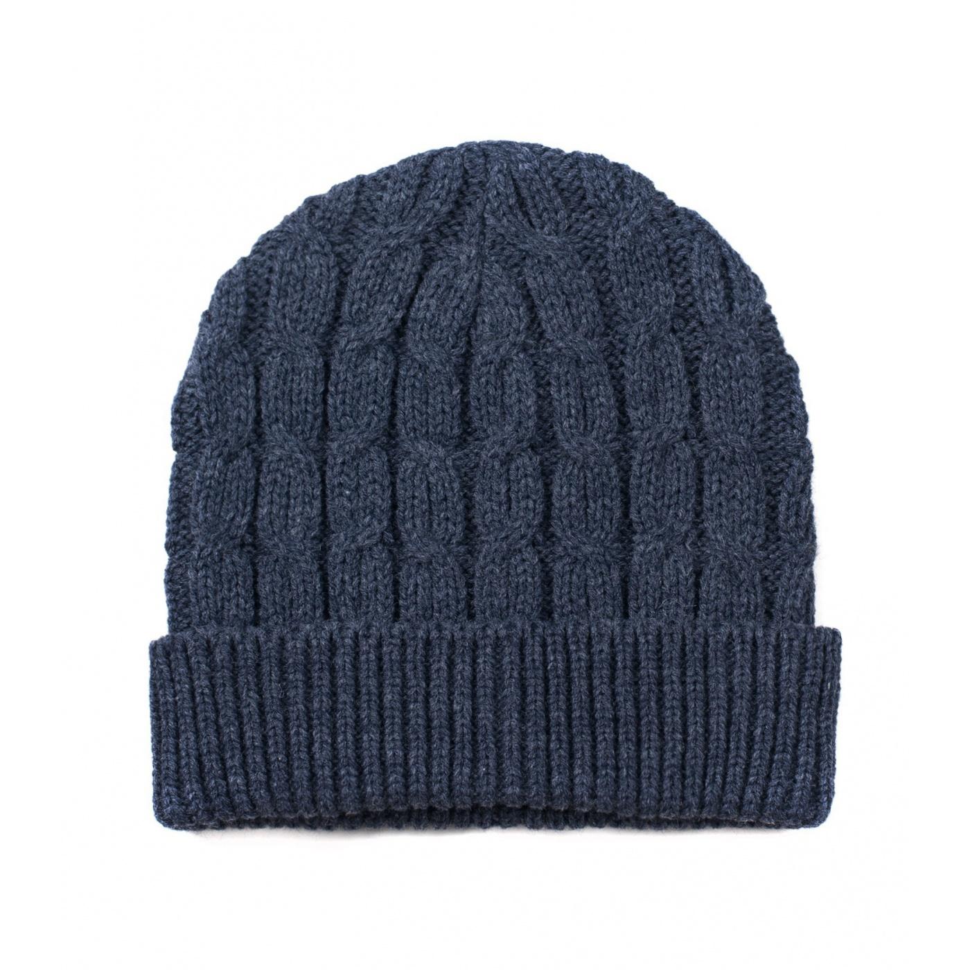 Męska czapka zimowa z wywinięciem – granatowa melanż