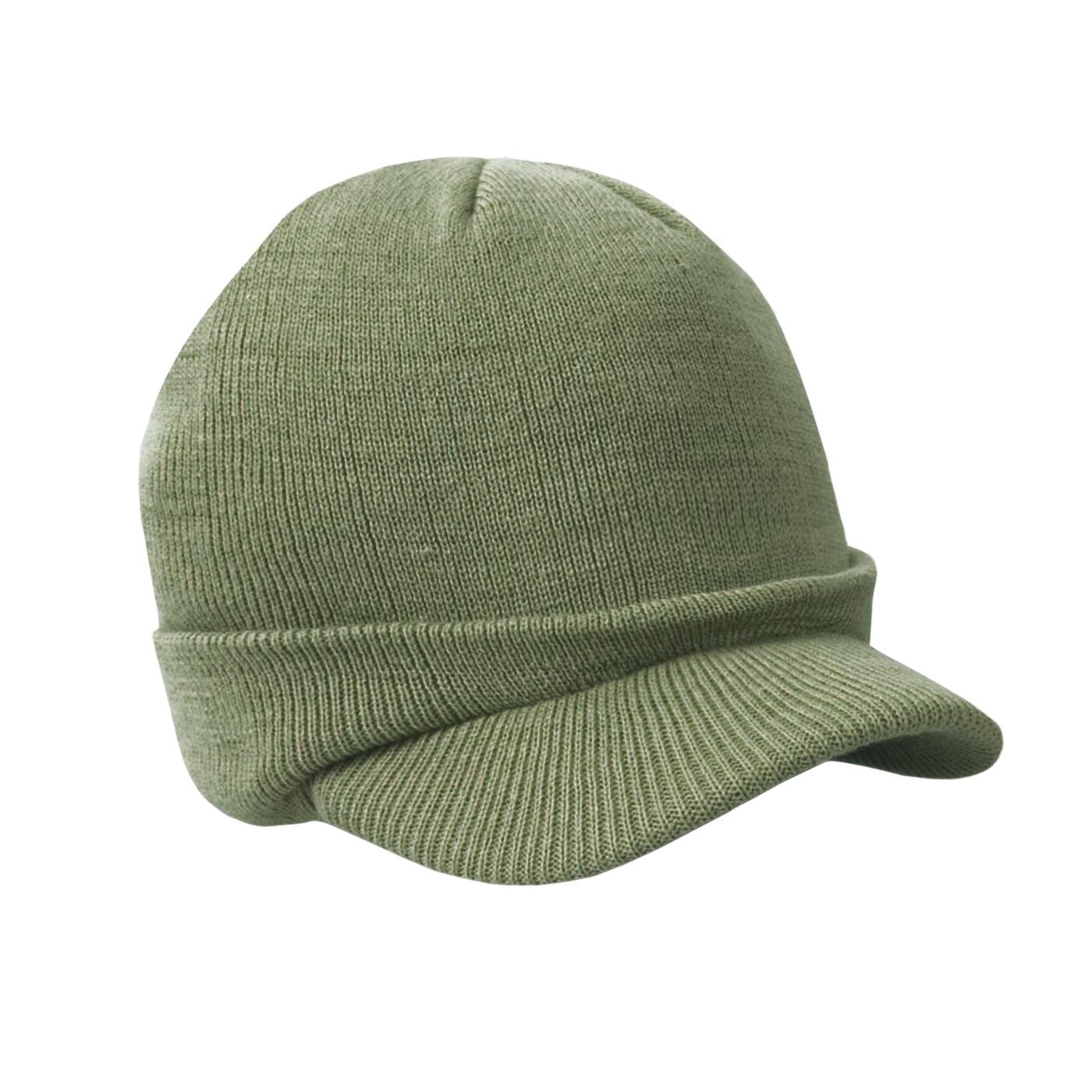 Męska czapka zimowa z daszkiem fullcap – oliwkowa z wywinięciem