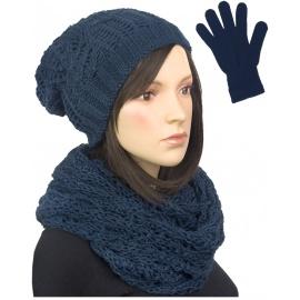 Damski komplet czapka zimowa krasnal, szalik komin i rękawiczki : granatowy
