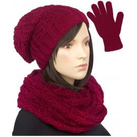 Damski komplet czapka zimowa krasnal, szalik komin i rękawiczki : bordowy
