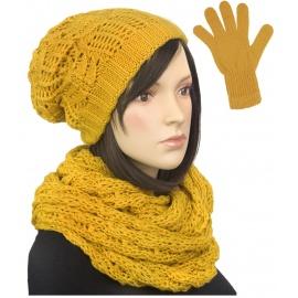 Damski komplet czapka zimowa krasnal, szalik komin i rękawiczki : żółty