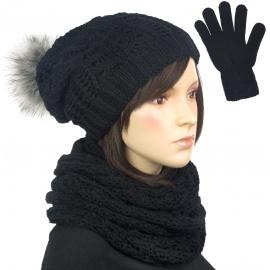 Damski komplet czapka krasnal z pomponem, szalik komin i rękawiczki : czarny
