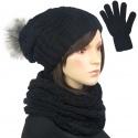 Damski komplet czapka zimowa krasnal, szalik komin i rękawiczki : czarny