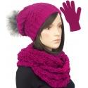 Damski komplet czapka krasnal z pomponem, szalik komin i rękawiczki : różowy