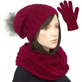 Damski komplet czapka krasnal z pomponem, szalik komin i rękawiczki : bordowy
