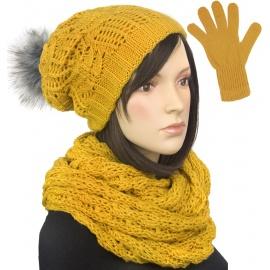 Damski komplet czapka krasnal z pomponem, szalik komin i rękawiczki : musztardowy