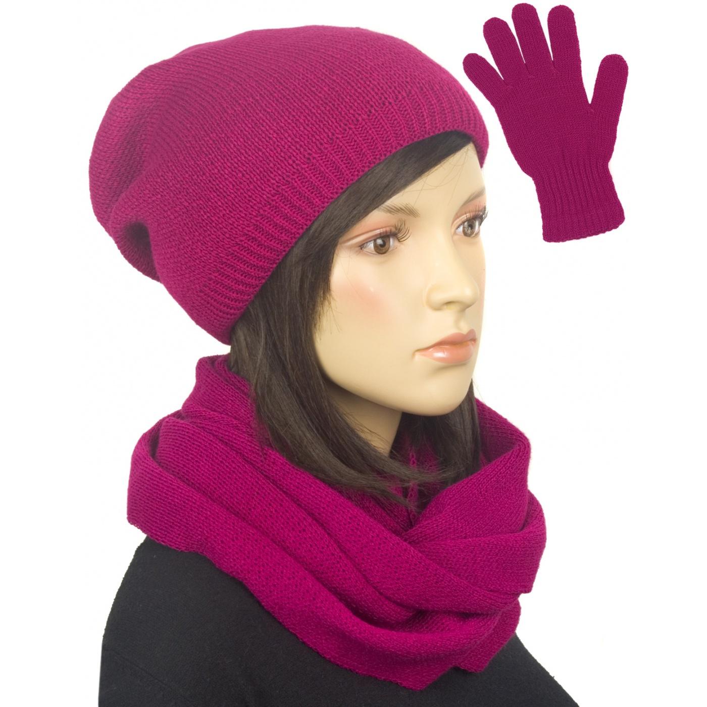 Komplet zimowy damski czapka, komin i rękawiczki - amarant