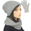 Komplet zimowy damski czapka, komin i rękawiczki - szary