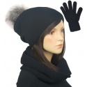 Komplet damski na zimę czapka z pomponem, komin i rękawiczki - czarny