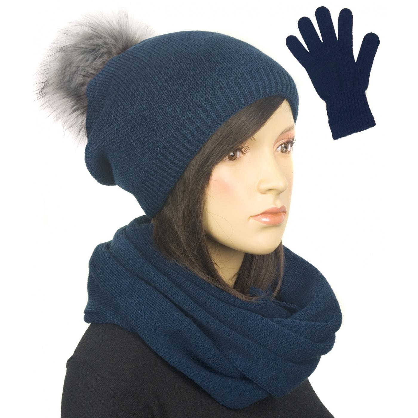 Komplet damski na zimę czapka z pomponem, komin i rękawiczki - granatowy