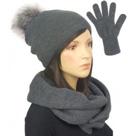 Komplet damski na zimę czapka z pomponem, komin i rękawiczki - ciemnoszary