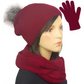 Komplet damski na zimę czapka z pomponem, komin i rękawiczki - bordo