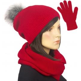 Komplet damski na zimę czapka z pomponem, komin i rękawiczki - czerwony