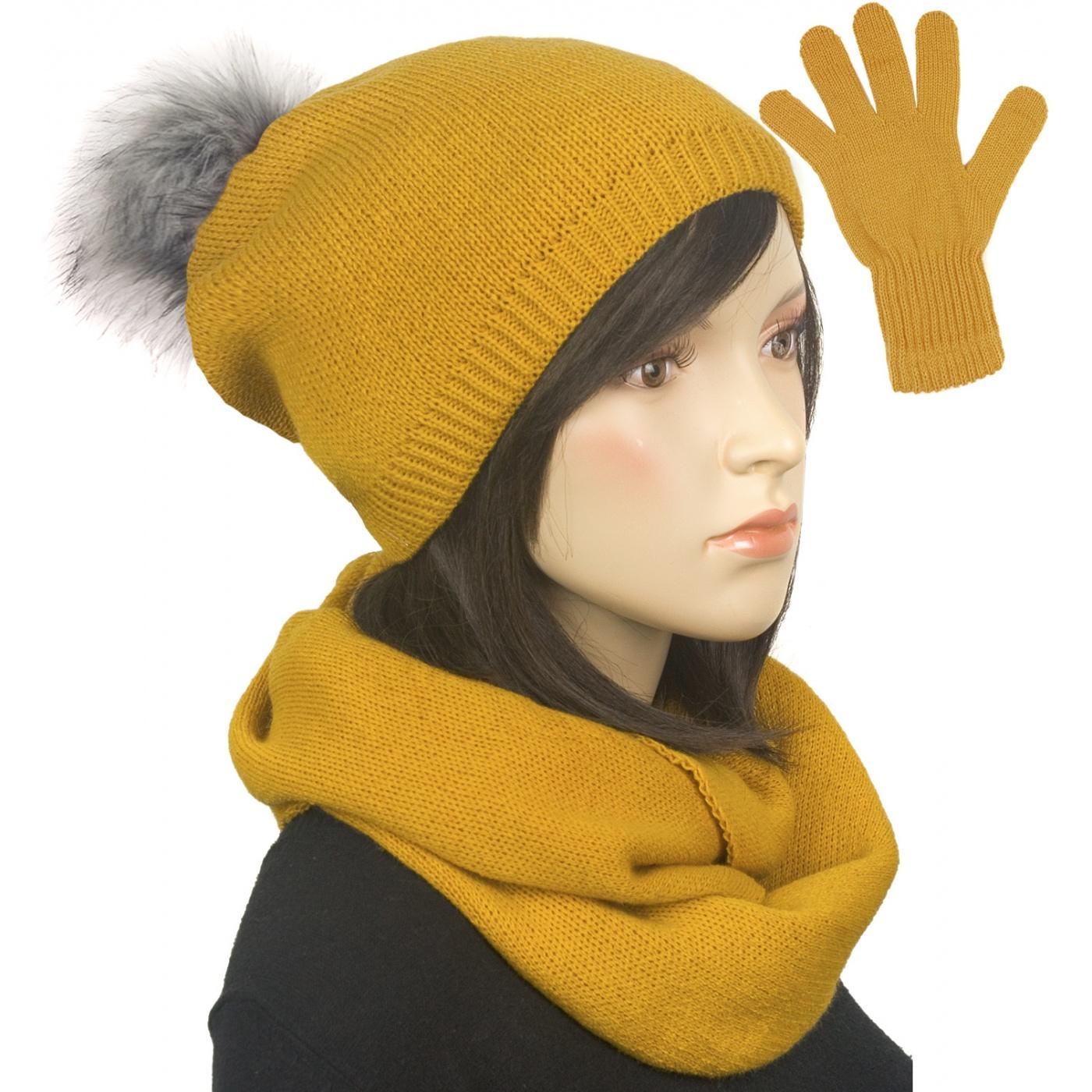 Komplet damski na zimę czapka z pomponem, komin i rękawiczki - musztardowy
