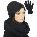 Komplet w warkocze czapka, komin, rękawiczki : czarny