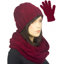 Komplet w warkocze czapka, komin, rękawiczki : bordowy
