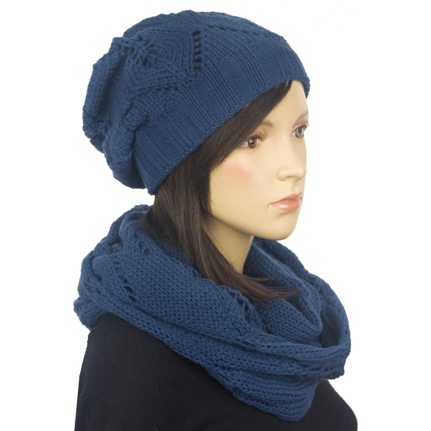Ażurowy komplet zimowy damski - jeansowy niebieski