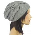 Ażurowa czapka zimowa – popielata
