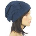 Ażurowa czapka zimowa – jeansowa niebieska