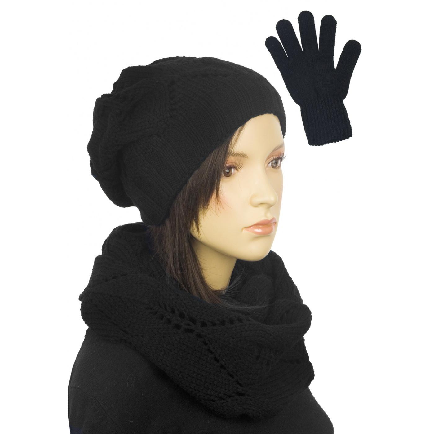 Ażurowy komplet damski czapka, komin, rękawiczki - czarny