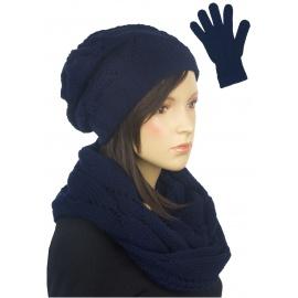 Ażurowy komplet damski czapka, komin, rękawiczki - granatowy