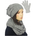 Ażurowy komplet damski czapka, komin, rękawiczki - popielaty
