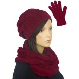Ażurowy komplet damski czapka, komin, rękawiczki - bordowy