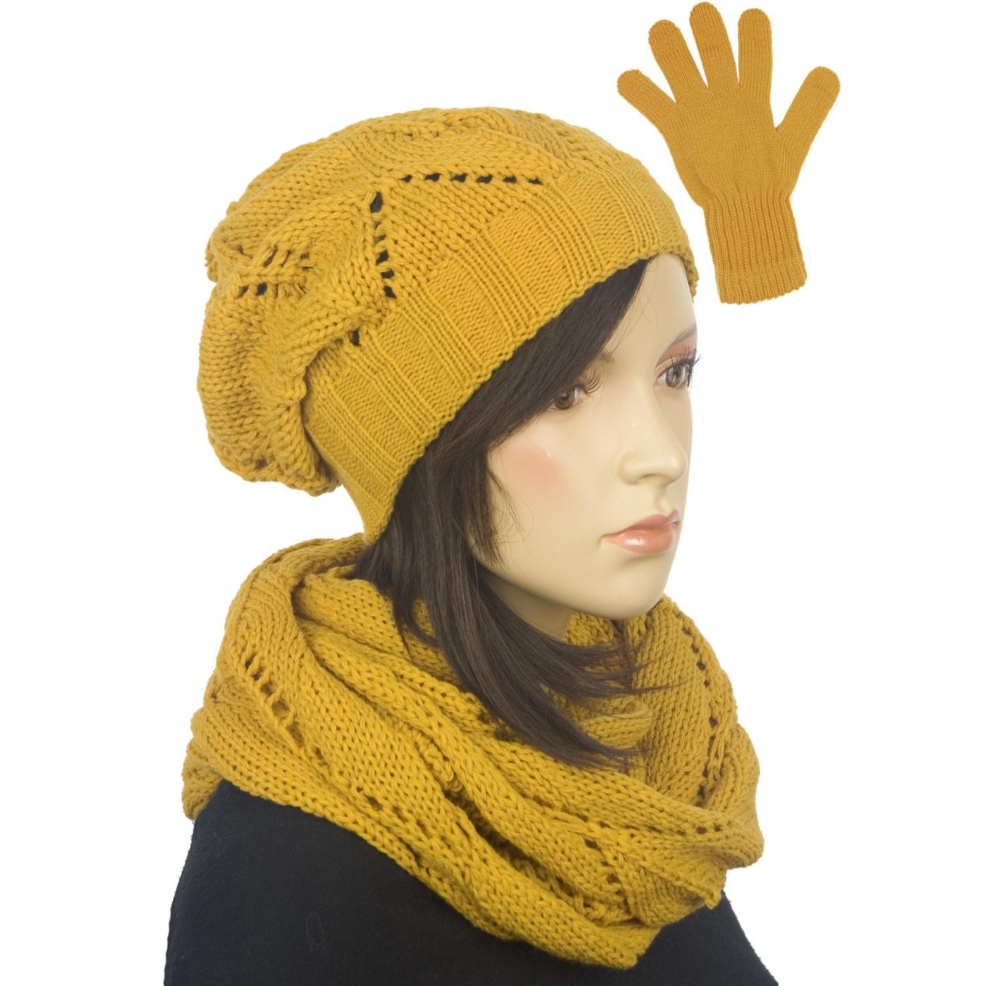 Ażurowy komplet damski czapka, komin, rękawiczki - musztardowy