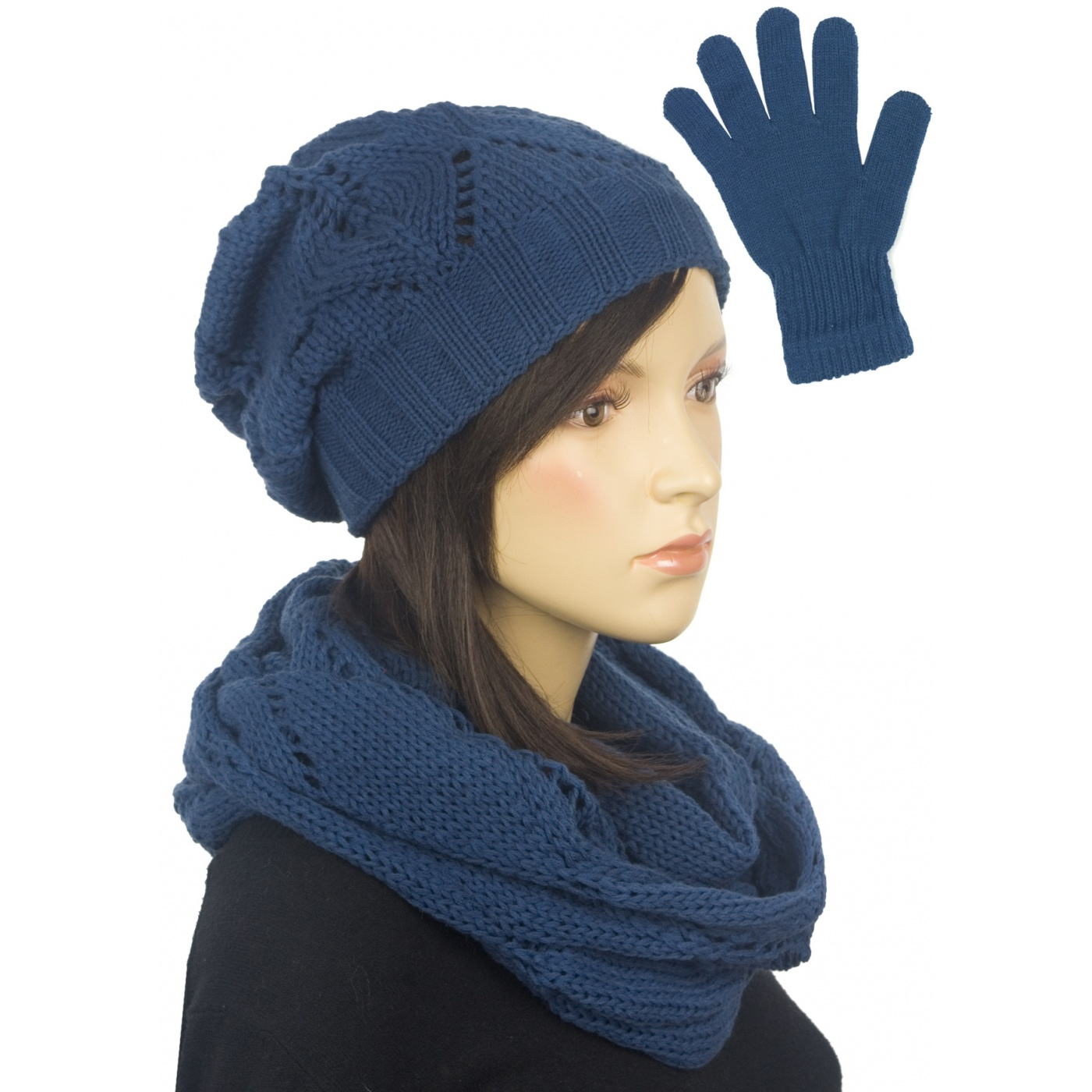 Ażurowy komplet damski czapka, komin, rękawiczki - niebieski