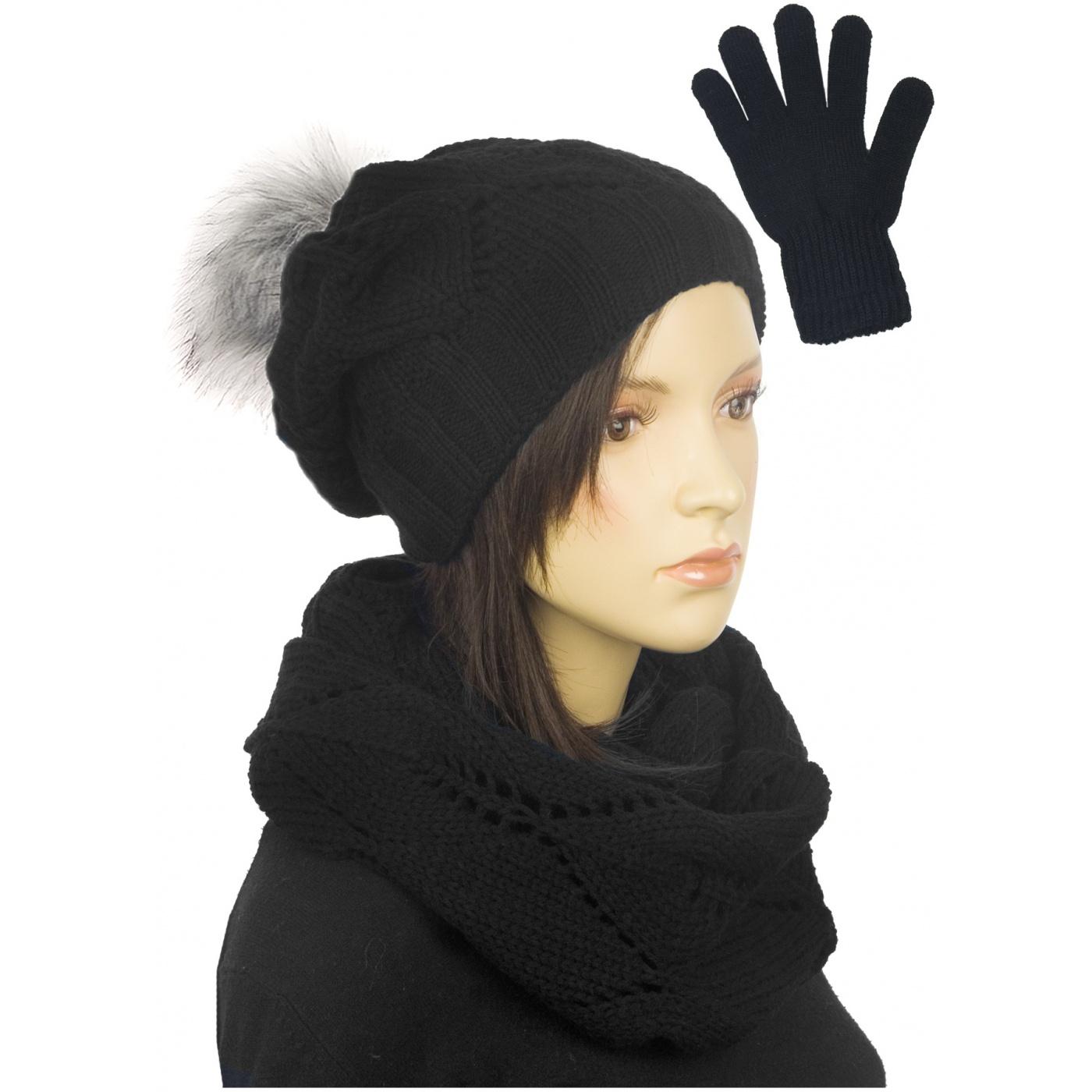 Ażurowy komplet czapka z pomponem, komin, rękawiczki - czarny