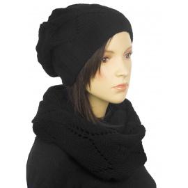 Ażurowy komplet zimowy damski - czarny