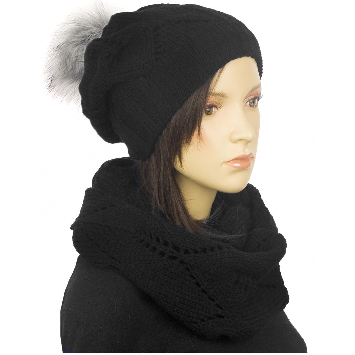 Ażurowy komplet czapka z pomponem i komin - czarny