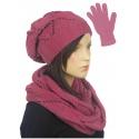 Ażurowy komplet damski czapka, komin, rękawiczki - różowy