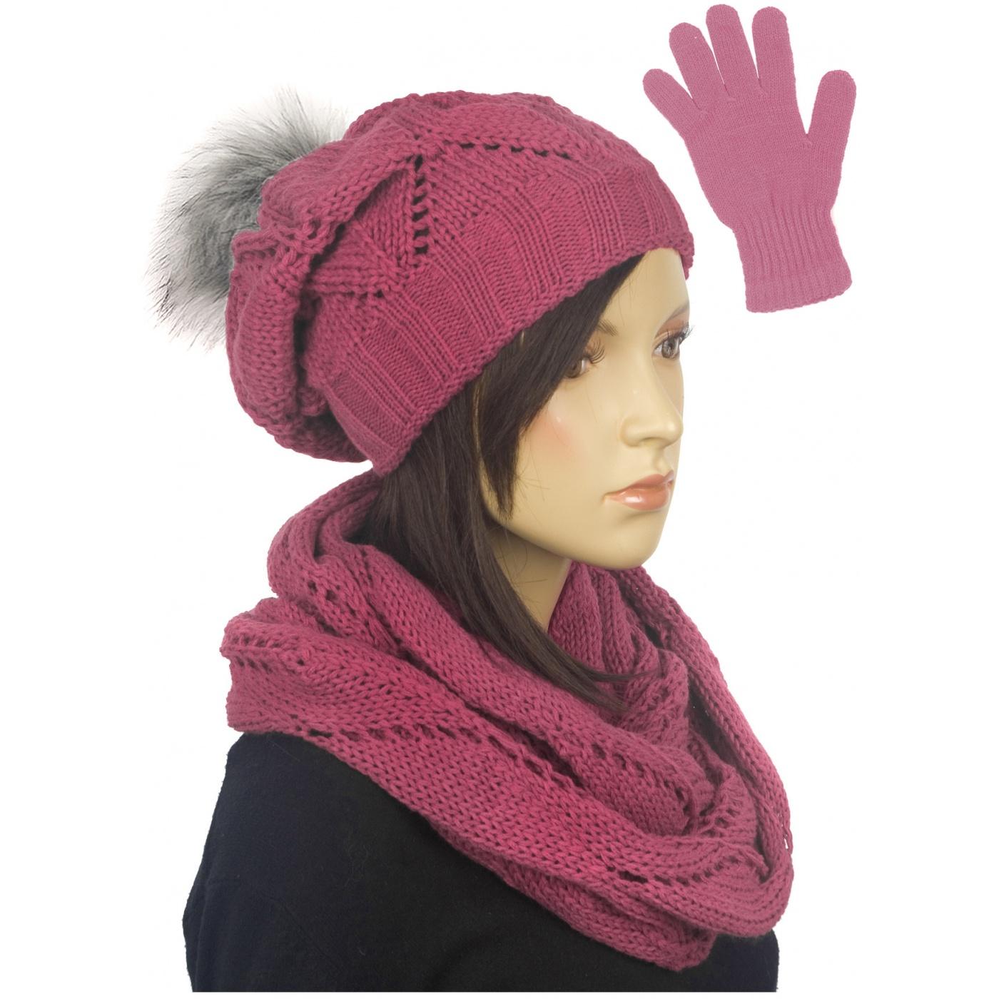 Ażurowy komplet czapka z pomponem, komin, rękawiczki - pastelowy różowy
