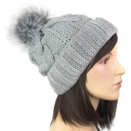 Damska czapka zimowa z pomponem popielata szara