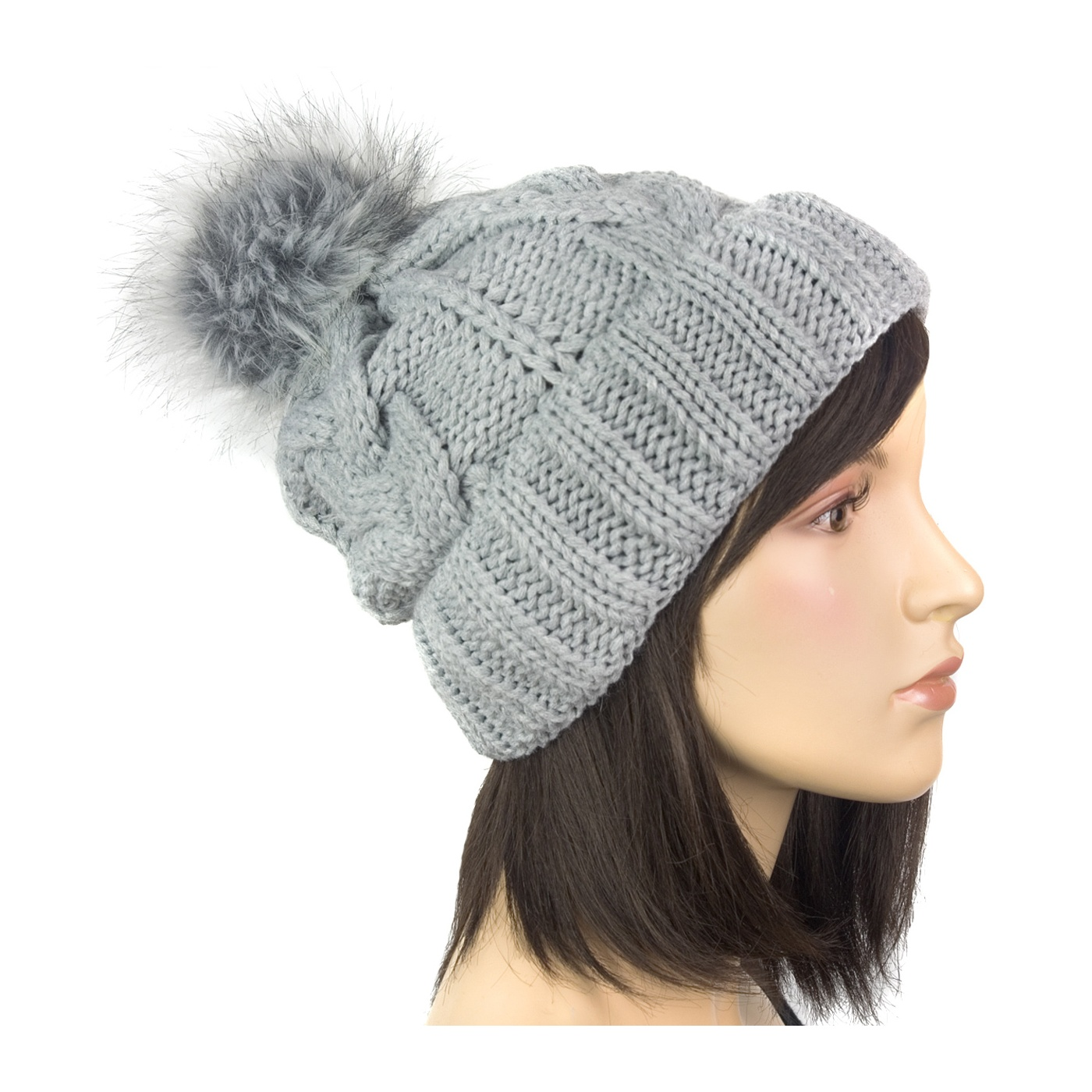 Damska czapka zimowa z dużym pomponem: beżowa