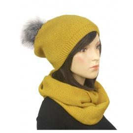 Komplet zimowy damski czapka z pomponem i szalik komin - musztardowy 2