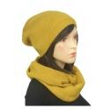 Komplet zimowy damski czapka i szalik komin - musztardowy 2