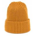 Czapka zimowa damska w prążki - musztardowa żółta