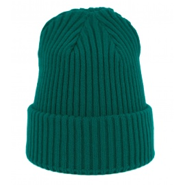 Czapka zimowa damska w prążki - zielona turkusowa